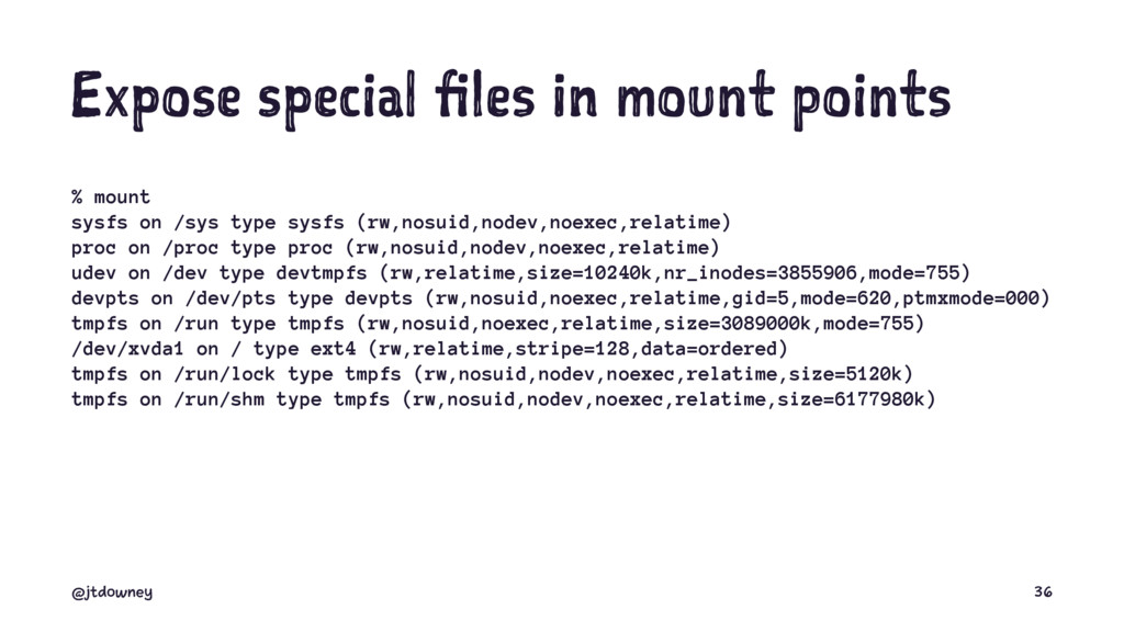 Expose special files in mount points % mount sy...