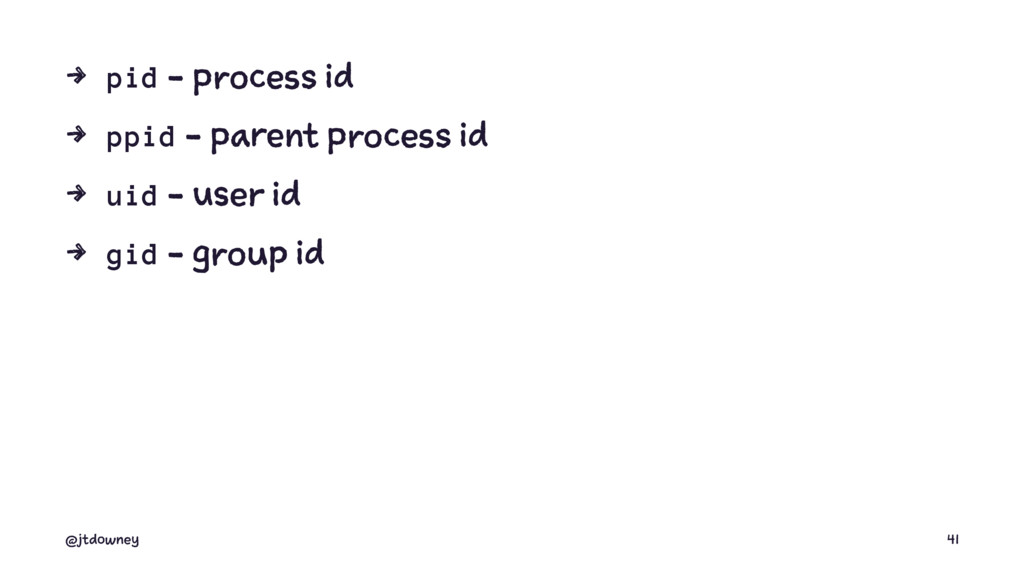 4 pid - process id 4 ppid - parent process id 4...