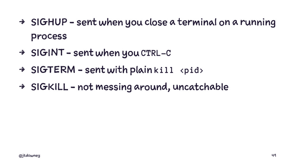 4 SIGHUP - sent when you close a terminal on a ...