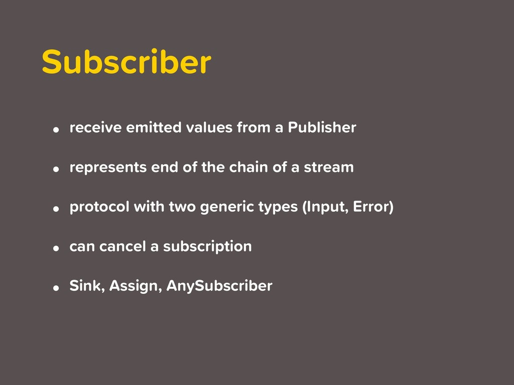 Subscriber • receive emitted values from a Publ...