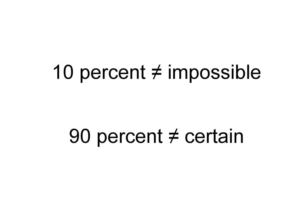 10 percent ≠ impossible 90 percent ≠ certain