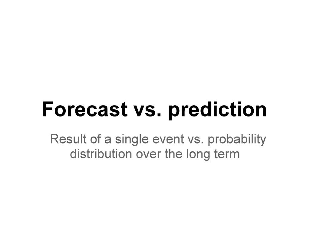 Forecast vs. prediction Result of a single even...