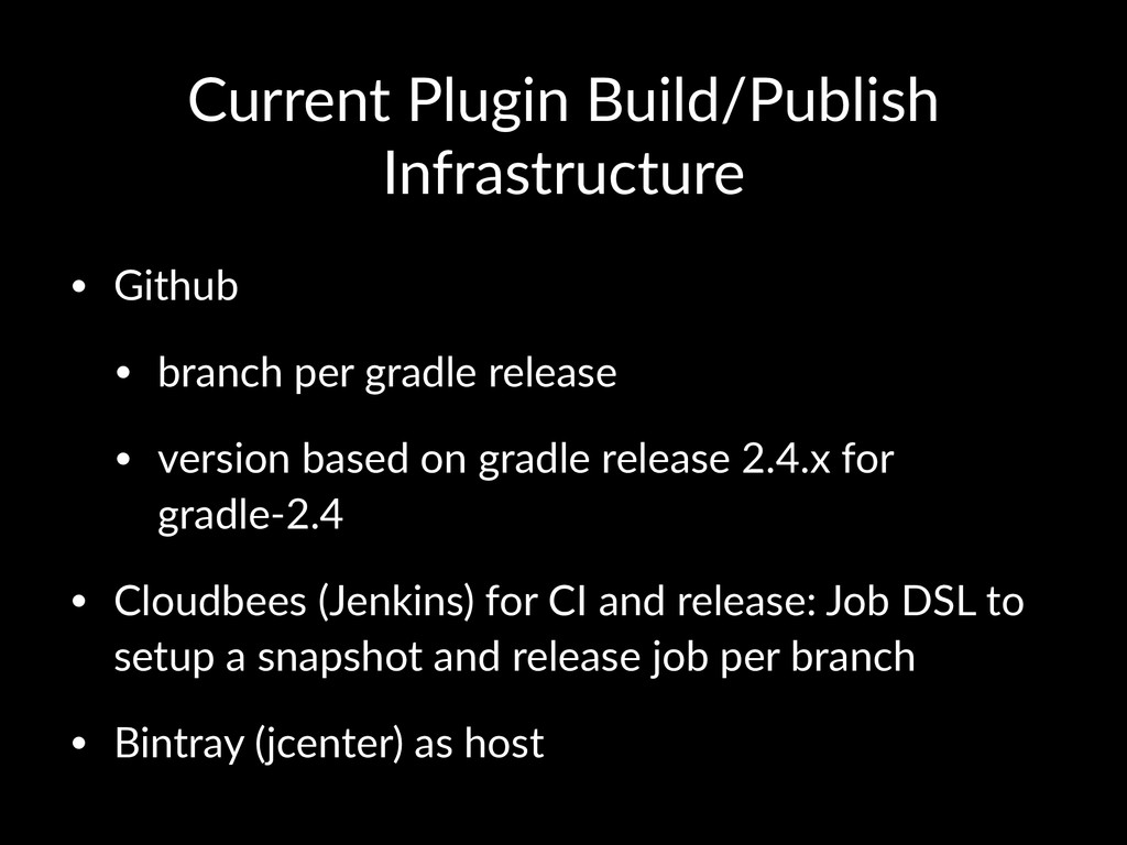 Current'Plugin'Build/Publish' Infrastructure • ...