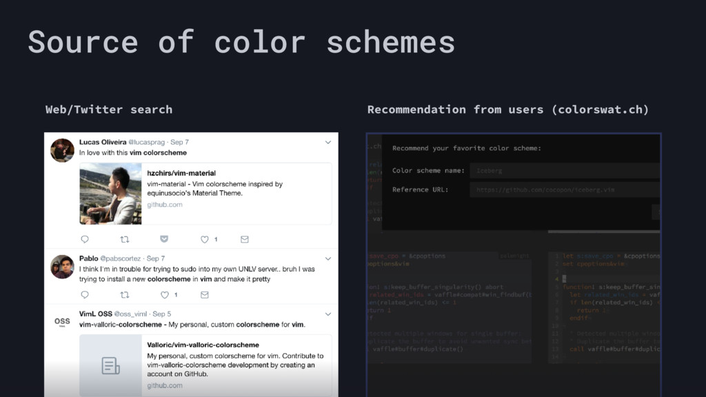 Source of color schemes Web/Twitter search Reco...