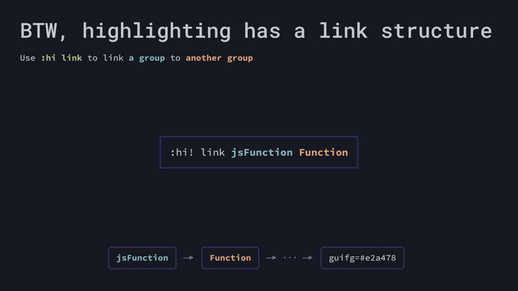 BTW, highlighting has a link structure Use :hi ...