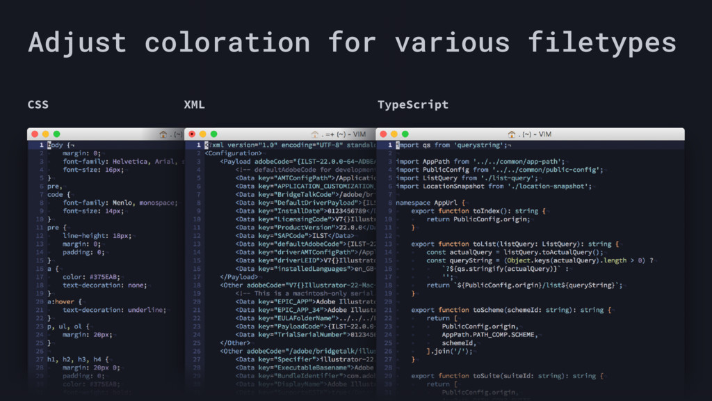 Adjust coloration for various filetypes CSS XML...