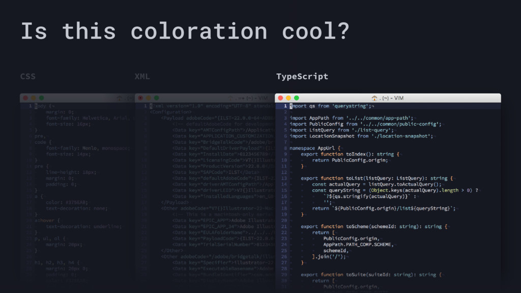 CSS XML TypeScript Is this coloration cool?