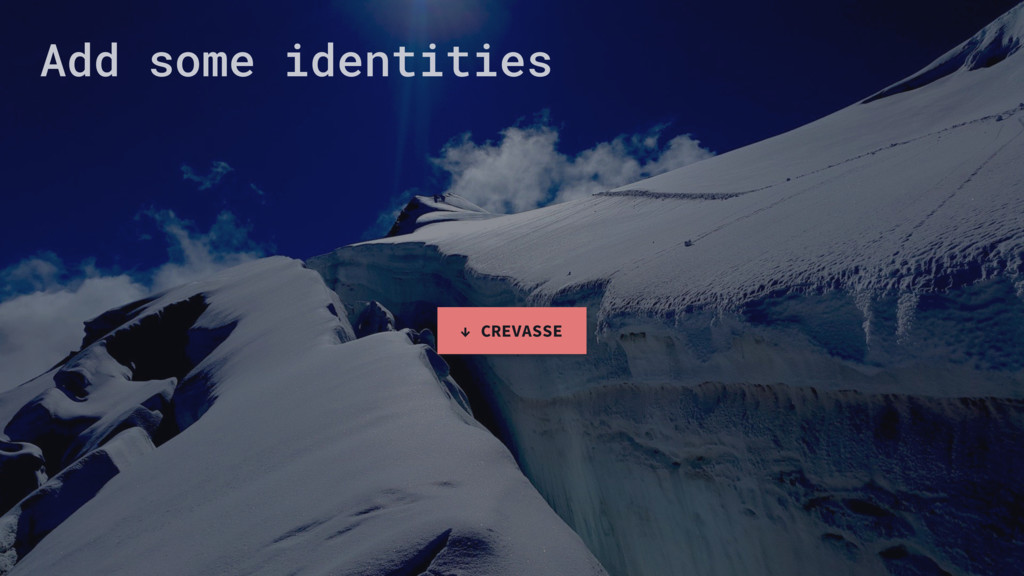 Add some identities ↓ CREVASSE