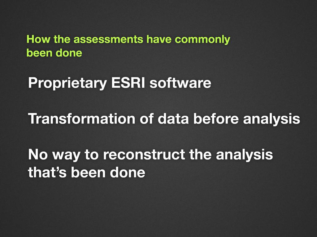 Proprietary ESRI software Transformation of dat...