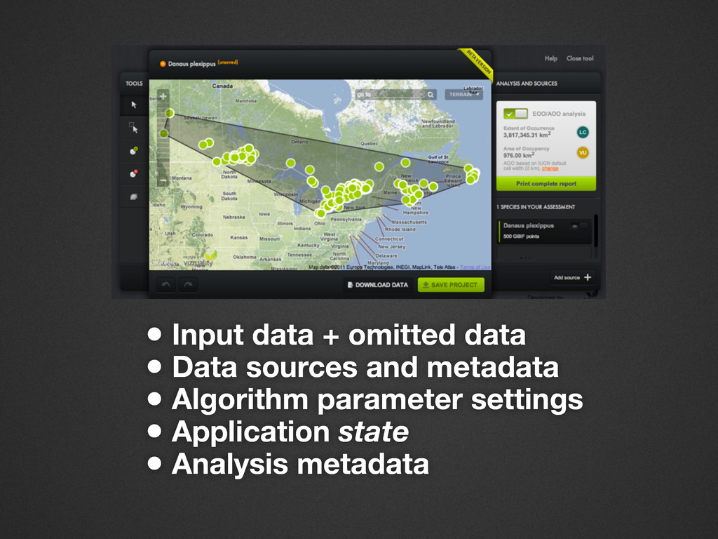 • Input data + omitted data • Data sources and ...