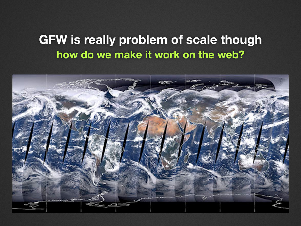 GFW is really problem of scale though how do we...