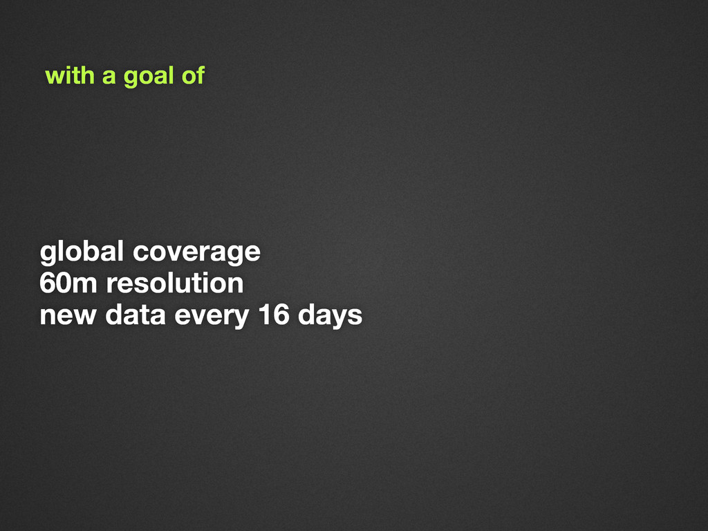global coverage 60m resolution new data every 1...