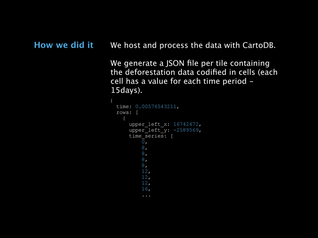 We host and process the data with CartoDB. We g...