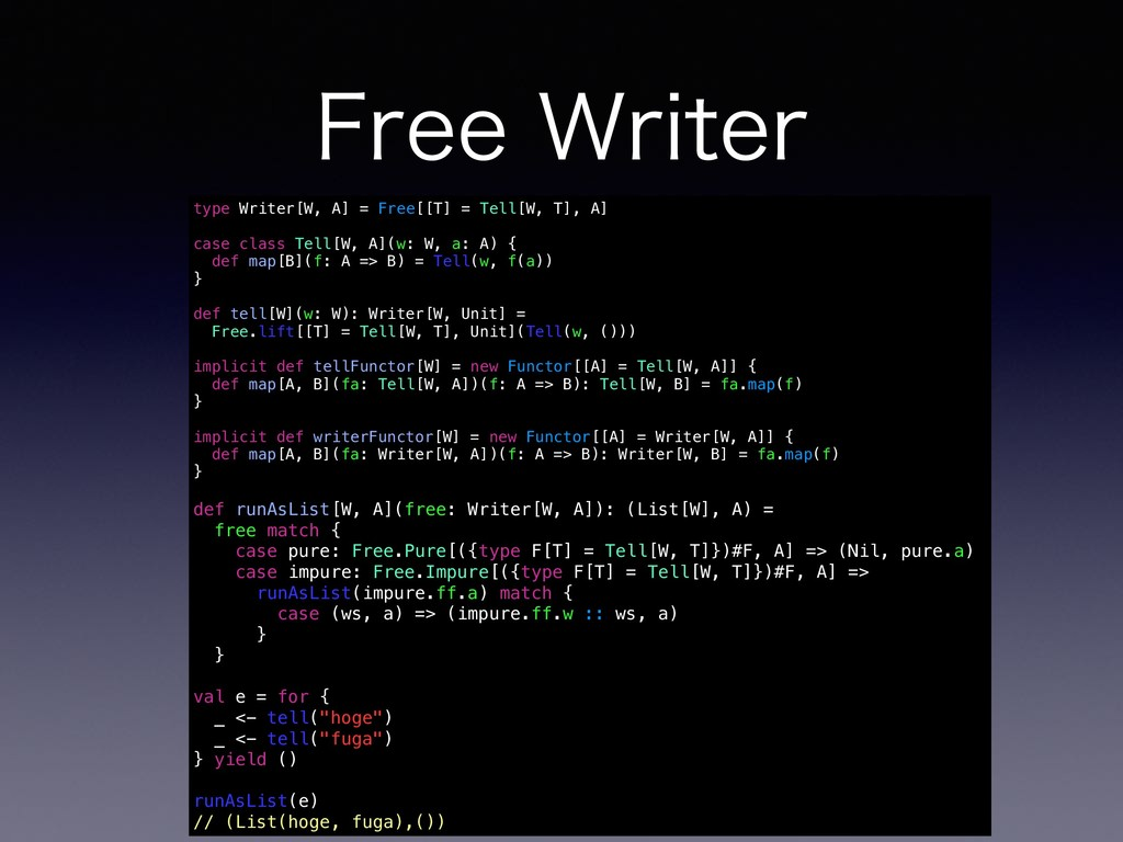 'SFF8SJUFS type Writer[W, A] = Free[[T] = Tell...