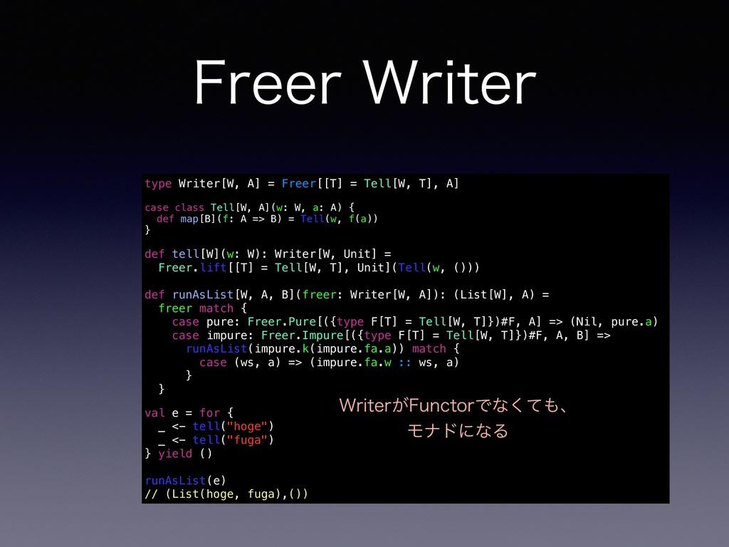 'SFFS8SJUFS type Writer[W, A] = Freer[[T] = Te...