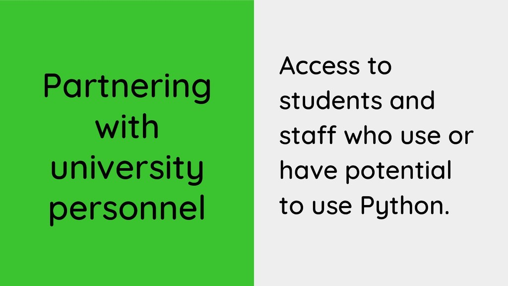 Partnering with university personnel Access to ...