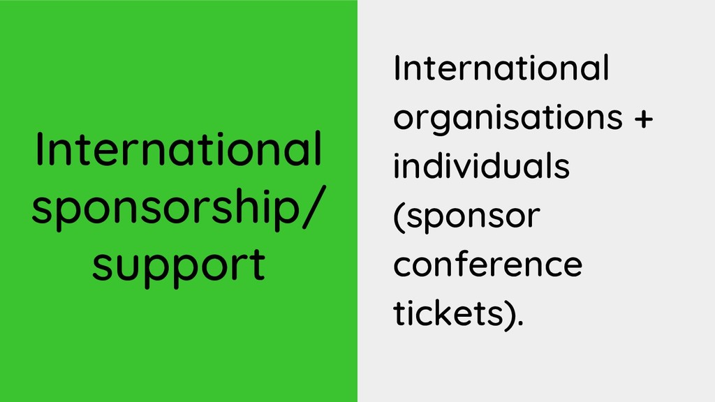 International sponsorship/ support Internationa...