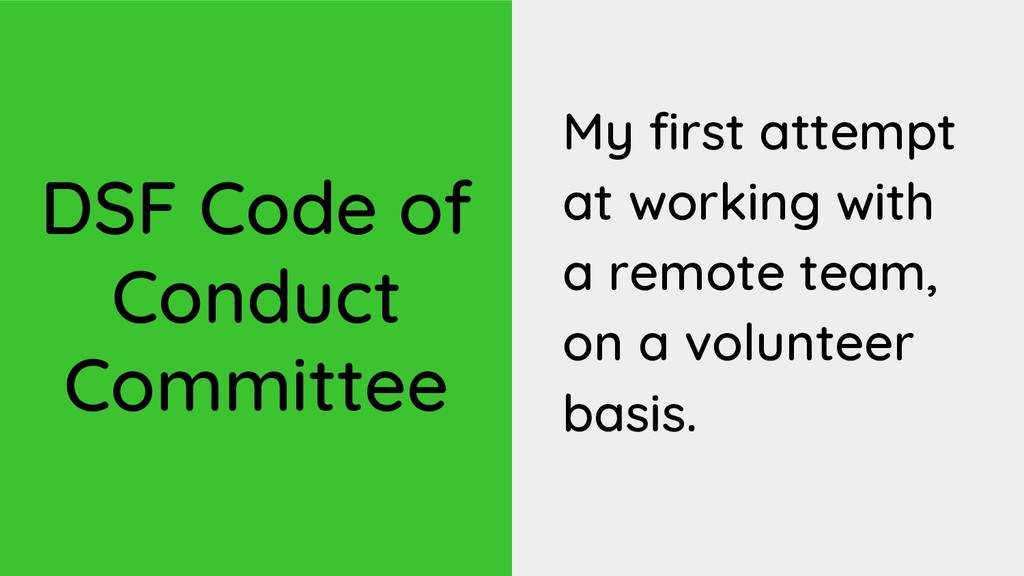 DSF Code of Conduct Committee My first attempt ...