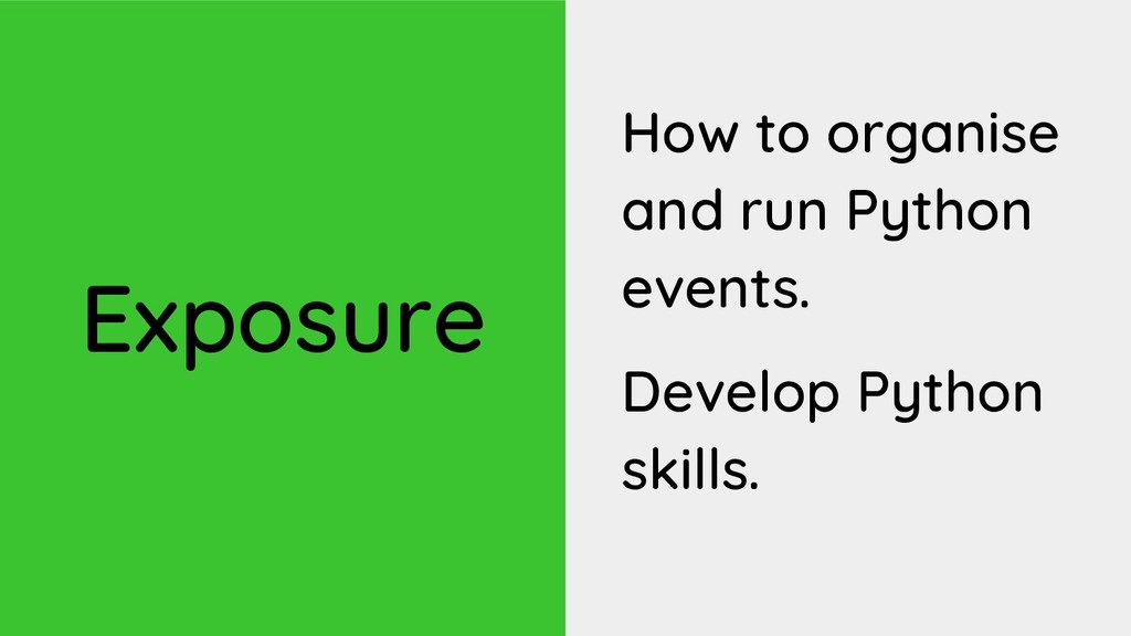 Exposure How to organise and run Python events....
