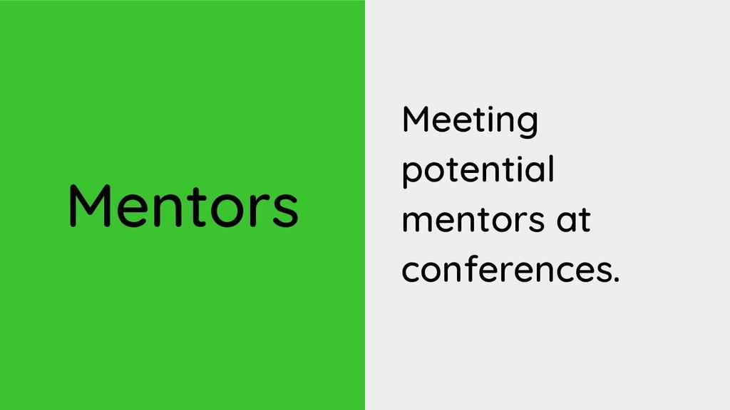 Mentors Meeting potential mentors at conference...