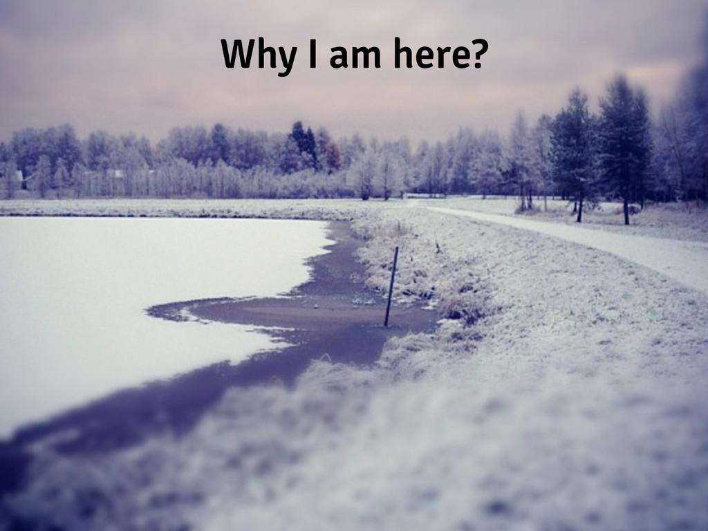 Why I am here?