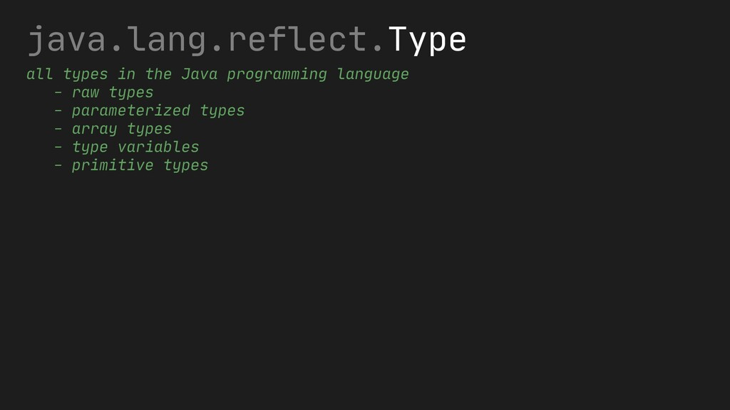 java.lang.reflect.Type all types in the Java pr...