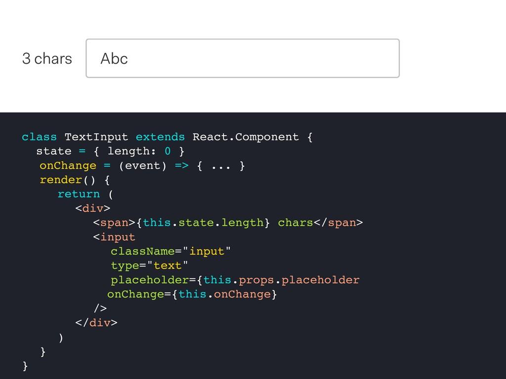 class TextInput extends React.Component { state...