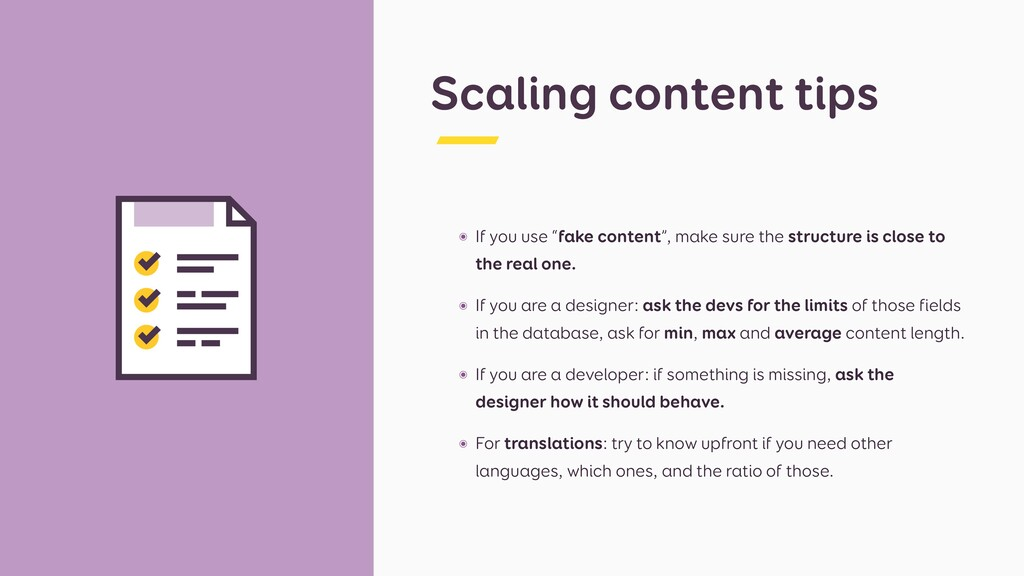 """Scaling content tips ๏ If you use """"fake content..."""