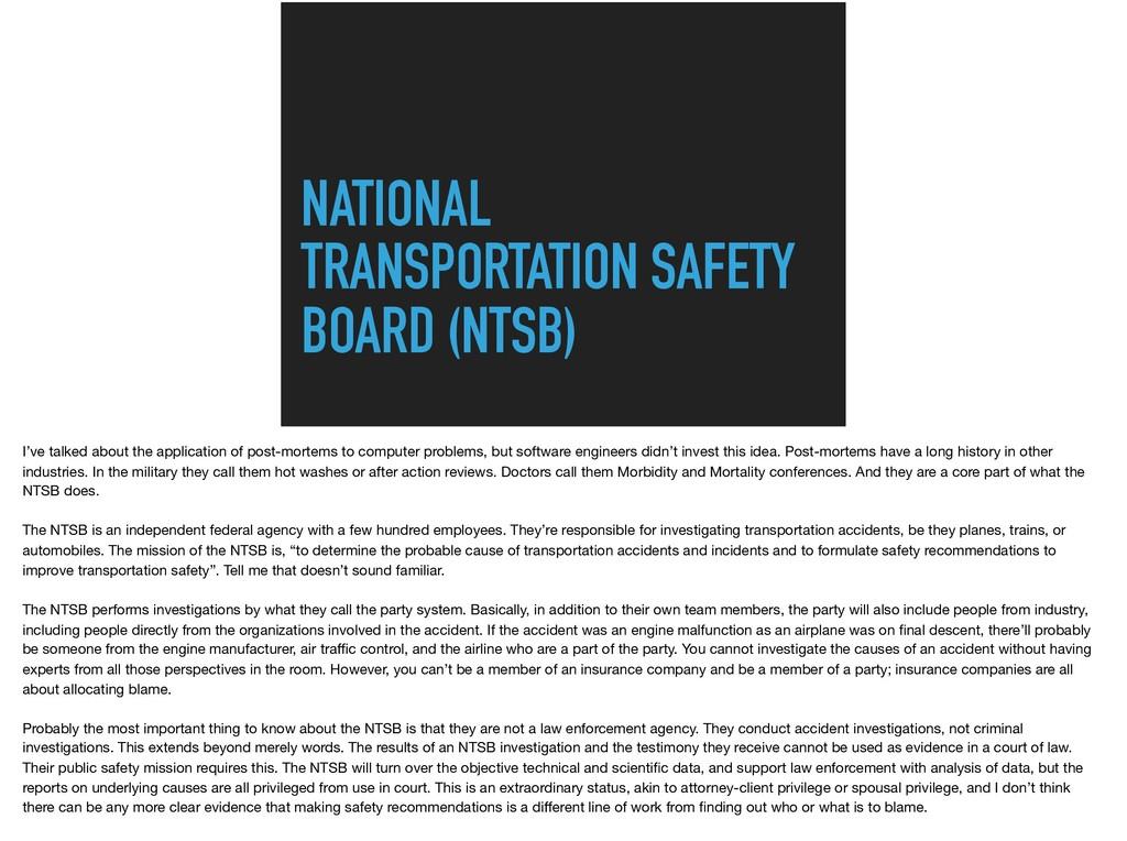 NATIONAL TRANSPORTATION SAFETY BOARD (NTSB) I'v...