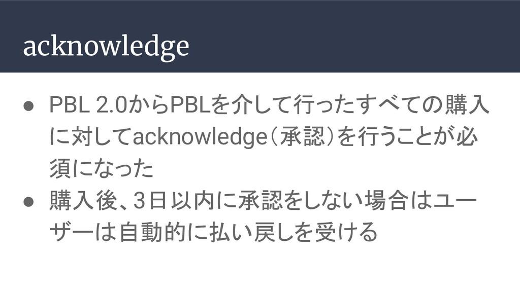 ● PBL 2.0からPBLを介して行ったすべての購入 に対してacknowledge(承認)...