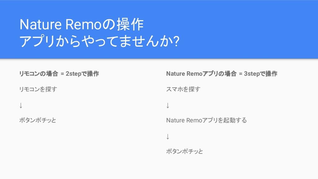 Nature Remoの操作 アプリからやってませんか? リモコンの場合 = 2stepで操作...