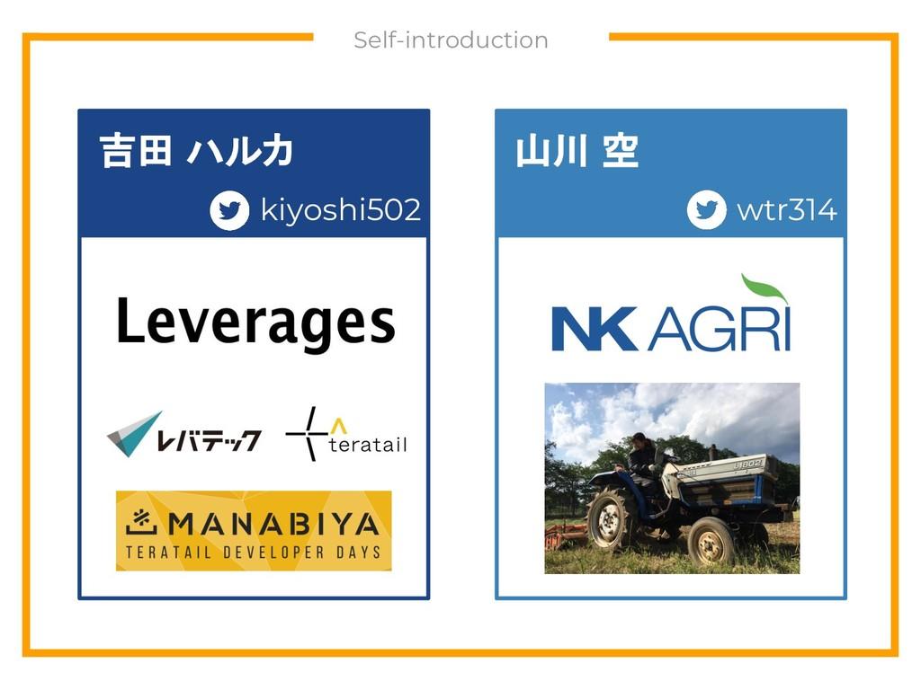 Self-introduction 吉田 ハルカ 山川 空 kiyoshi502 wtr314
