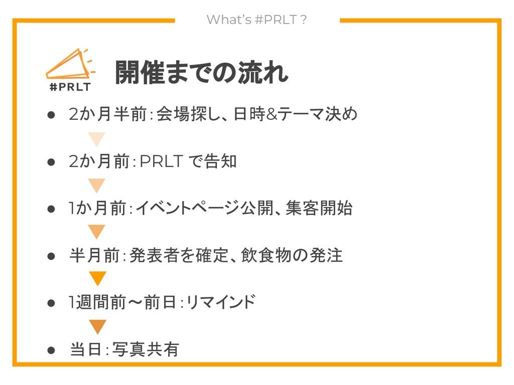 開催までの流れ ● 2か月半前:会場探し、日時&テーマ決め ● 2か月前:PRLT で告知 ●...
