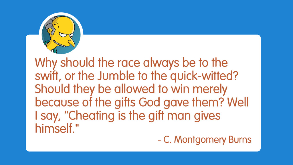 Why should the race always be to the swift, or ...