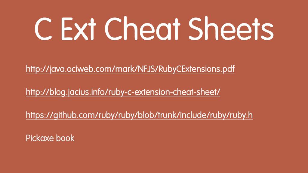 C Ext Cheat Sheets http://java.ociweb.com/mark/...