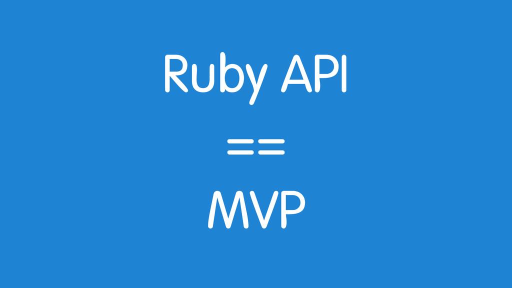 Ruby API == MVP