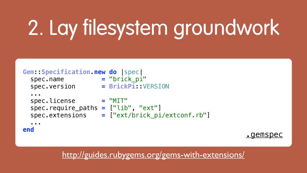 2. Lay filesystem groundwork Gem::Specification...