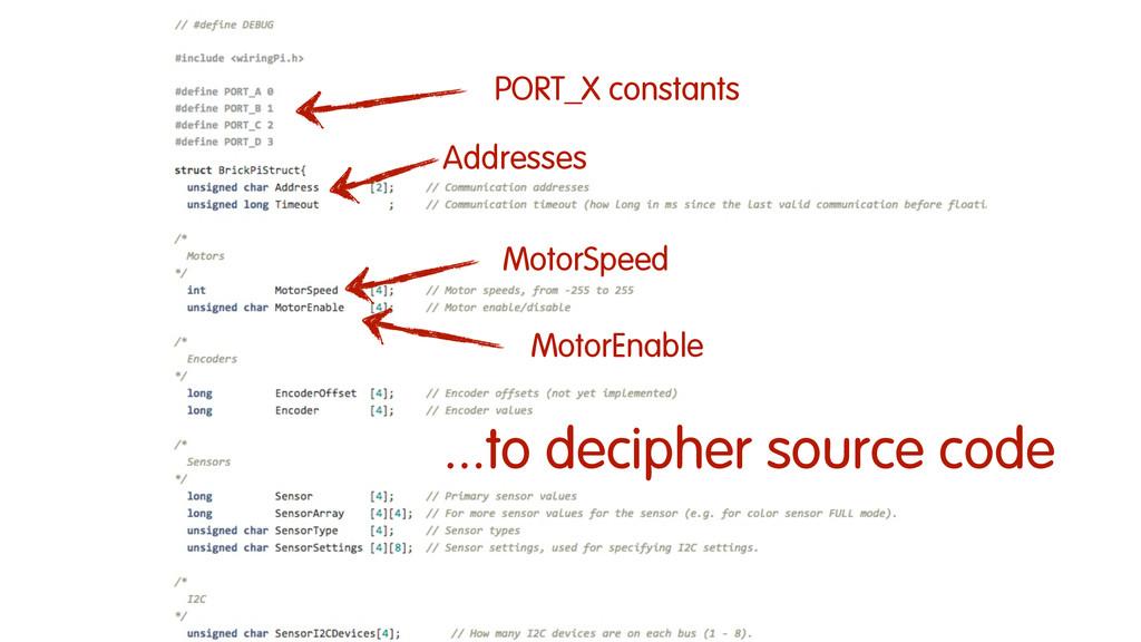 MotorSpeed Addresses PORT_X constants MotorEnab...