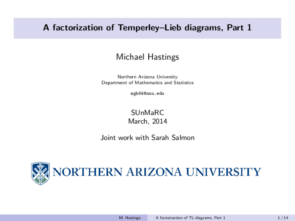 A factorization of Temperley–Lieb diagrams, Par...