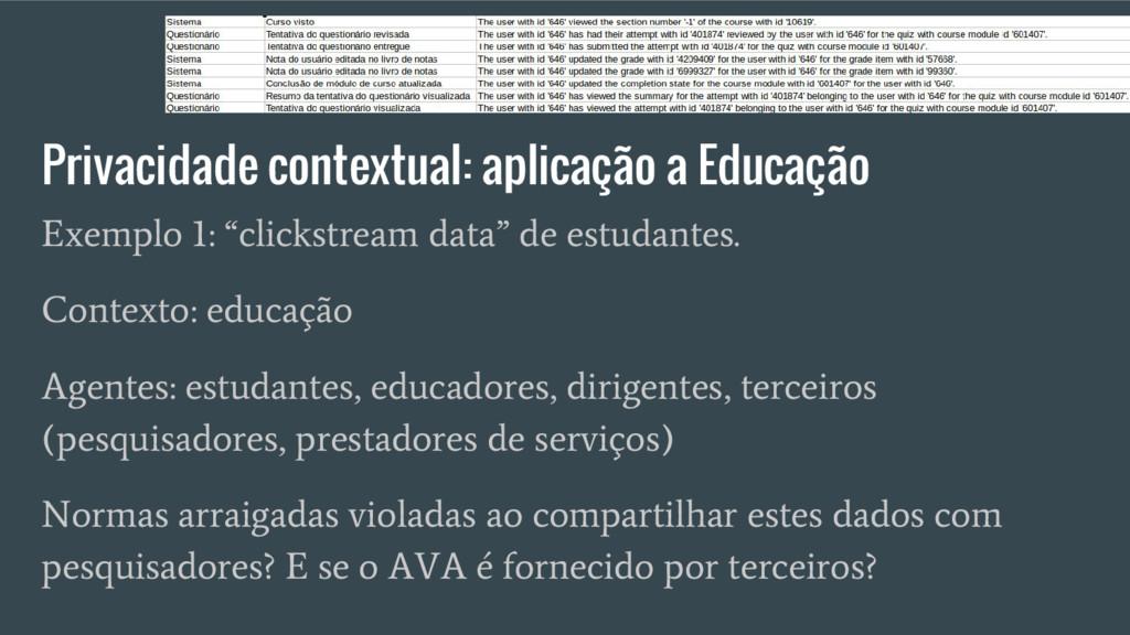 Privacidade contextual: aplicação a Educação Ex...