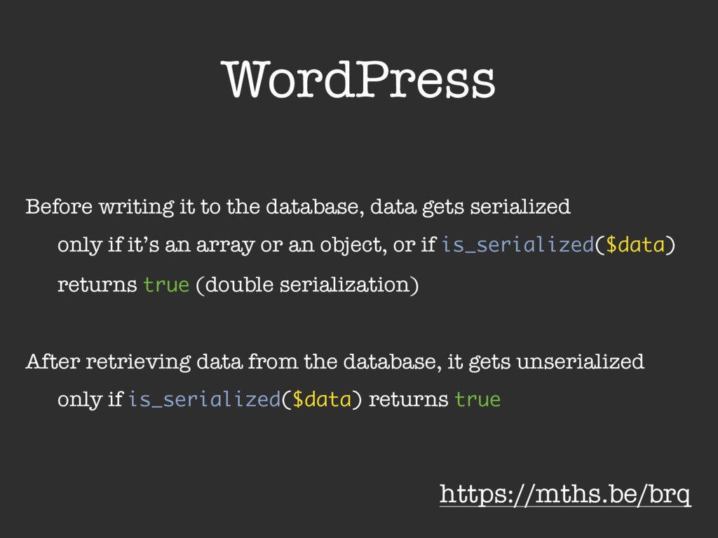 WordPress Before writing it to the database, da...