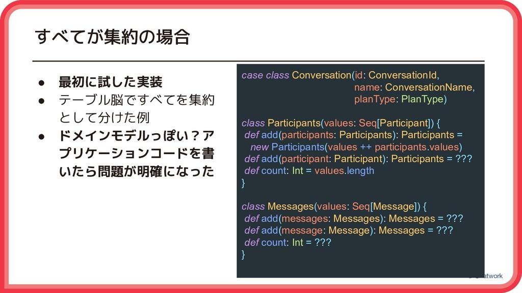 © Chatwork すべてが集約の場合 case class Conversation(id...
