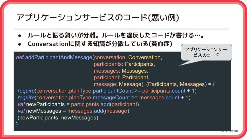 © Chatwork アプリケーションサービスのコード(悪い例) ● ルールと振る舞いが分離。...