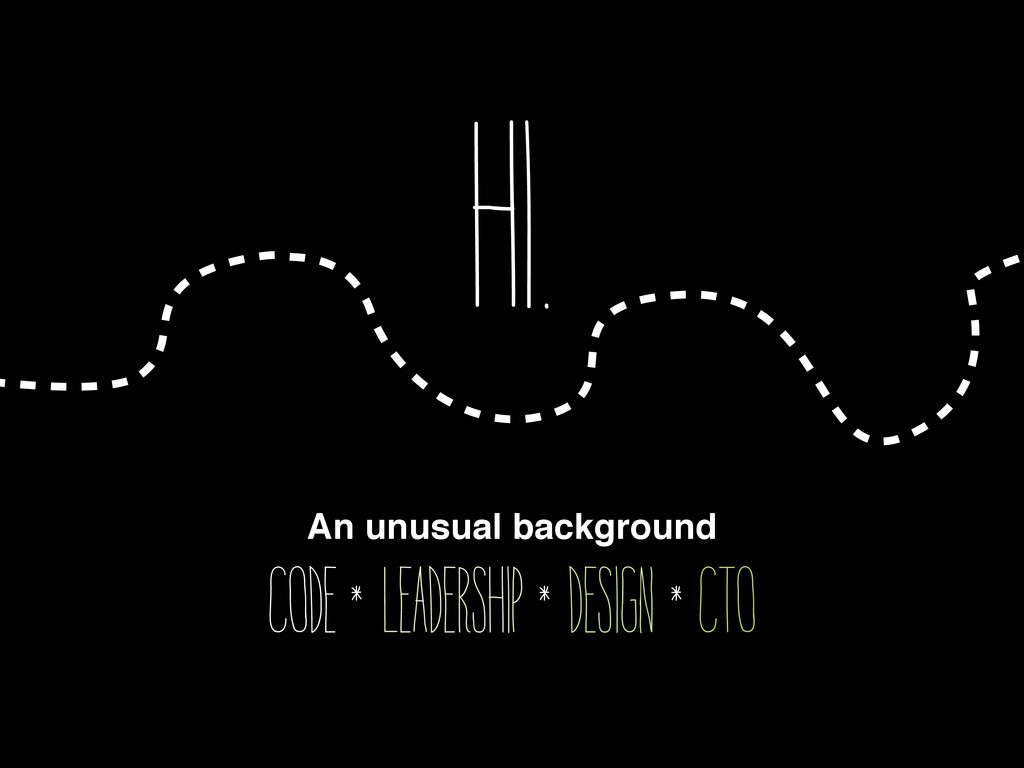 Hi. An unusual background Code leadership desig...