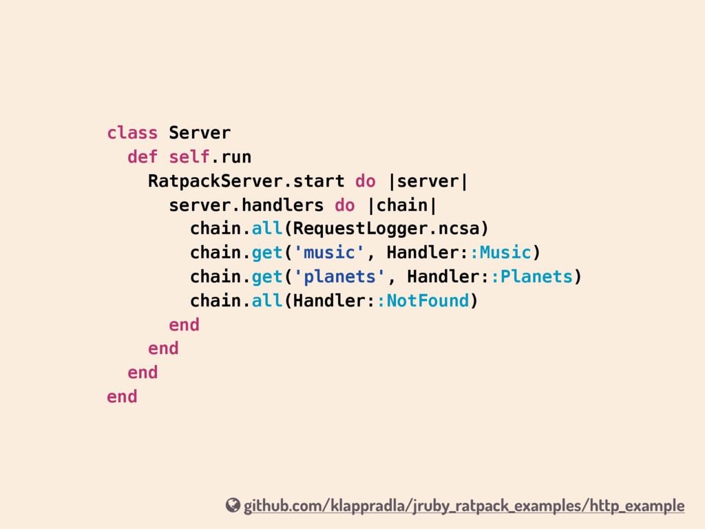 class Server def self.run RatpackServer.start d...