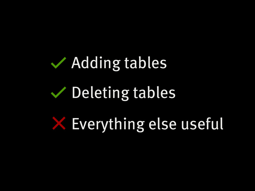 Adding tables Deleting tables Everything else u...