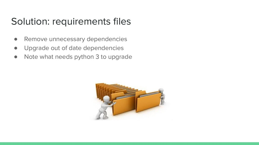 Solution: requirements files ● Remove unnecessar...