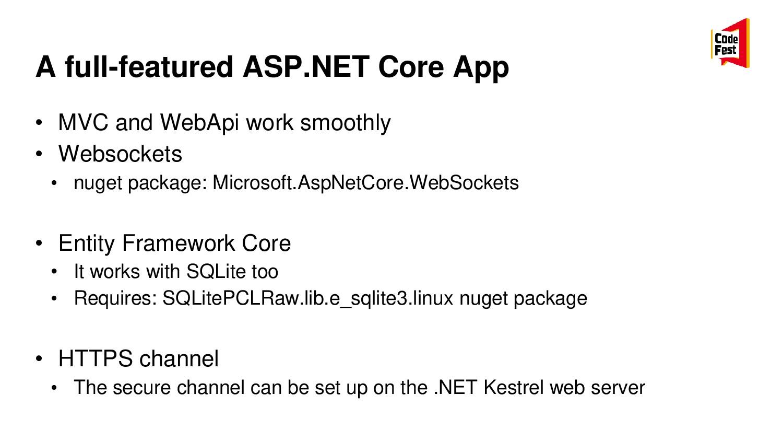 A full-featured ASP.NET Core App • MVC and WebA...