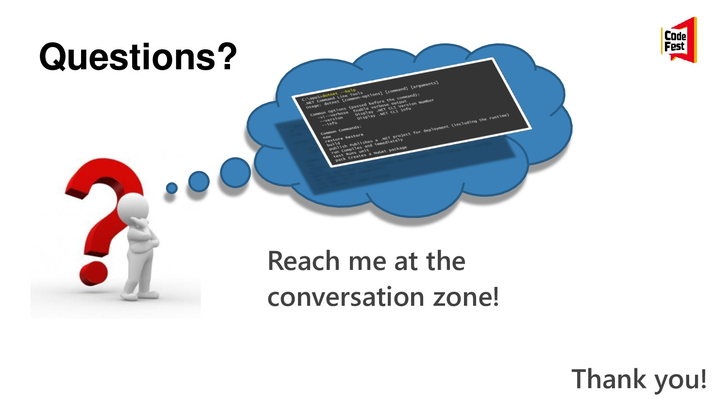 Questions? Thank you! Reach me at the conversat...