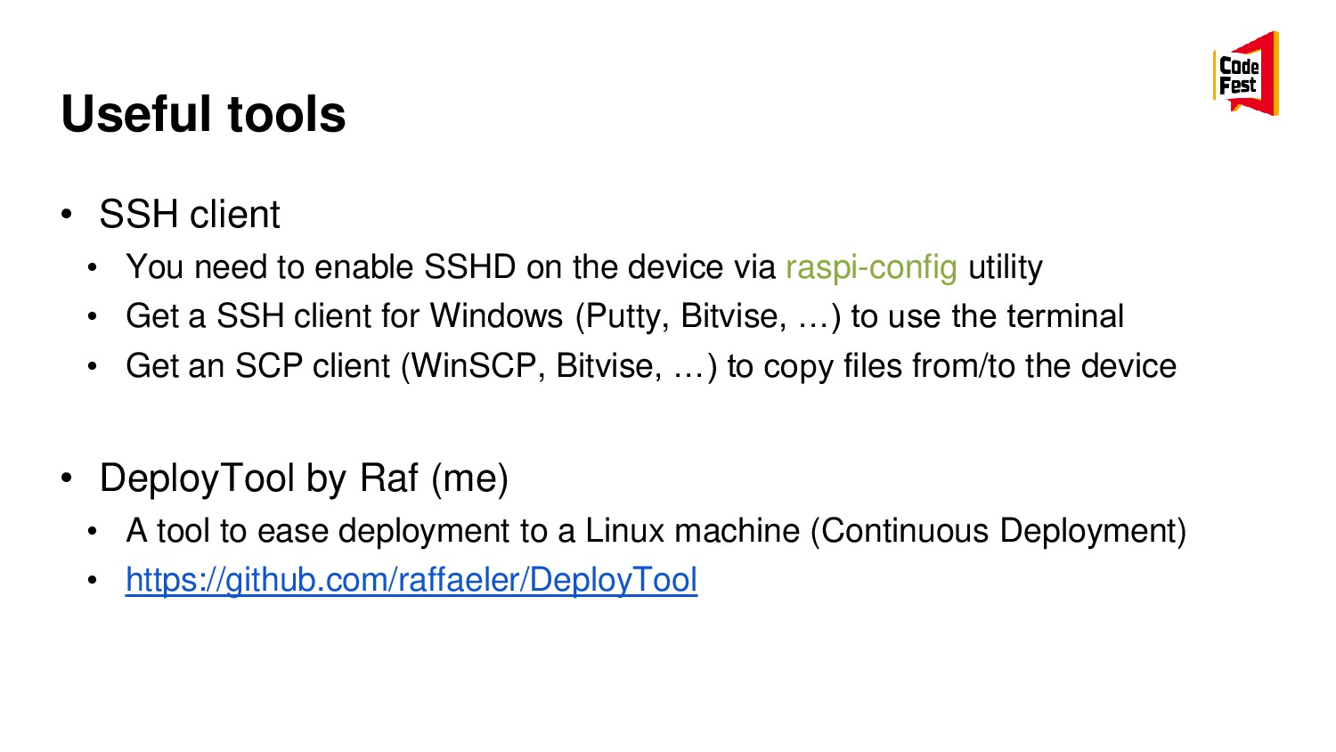 Useful tools • SSH client • You need to enable ...